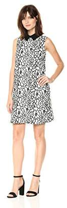 Nanette Lepore Nanette Women's Slvls Lace 2 Tone Dress W/Contrast Collar