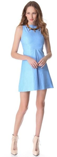 Alice + Olivia Leather Boat Neck Mini Dress