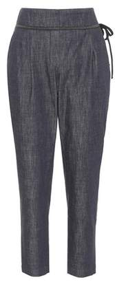 Brunello Cucinelli Cropped chambray trousers