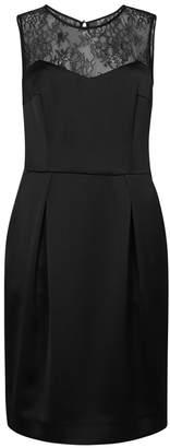 HUGO Black Lace-trimmed Satin Dress
