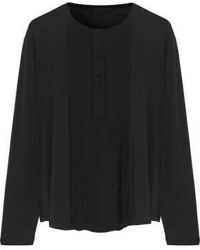 Belstaff Nora Embellished Chiffon-Paneled Cotton-Blend Jersey Top