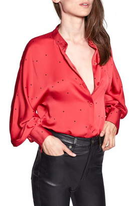 Equipment Gabin Star Print Satin Blouse