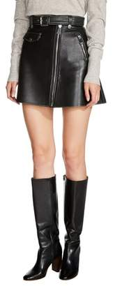 Maje Belted A-Line Leather Miniskirt