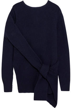 3.1 Phillip Lim - Draped Ribbed Wool And Yak-blend Sweater - Navy