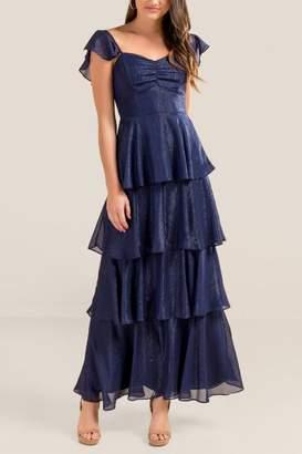 francesca's Skylar Shine Ruffle Maxi Dress - Navy