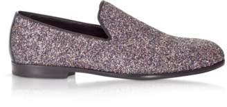 Jimmy Choo Marlo Twilight Glitzy Glitter Fabric Slippers