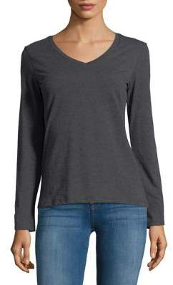Lord & Taylor Cotton-Blend V-Neck Tee