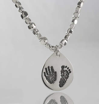 Touch on Silver Personalised Hand And Foot Petal Charm Necklace