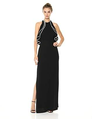 Halston Women's Sleeveless High Halter Neck Ruffle Detail Gown