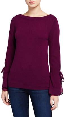 Neiman Marcus Boat-Neck Cashmere Sweater with Tie Silk Cuff Detail