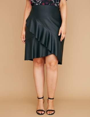 Lane Bryant Faux Leather Ruffle Skirt