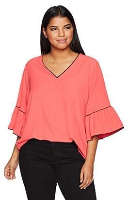 Calvin Klein Women's Plus Size V-Neck Blouse Piping