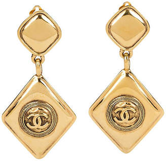 One Kings Lane Vintage 1980s Chanel Diamond-Shaped Earrings - Vintage Lux