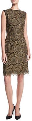 Escada Lurex Floral Lace Cocktail Sheath Dress