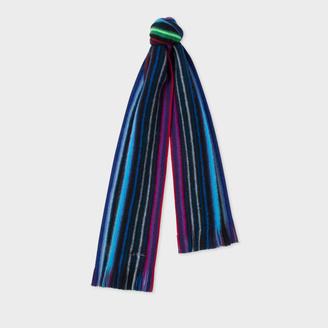 Men's Black Neon Stripe Merino Wool Scarf