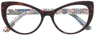 Dolce & Gabbana Eyewear tortoiseshell-effect cat-eye glasses