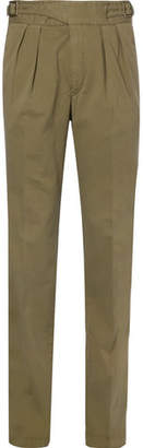 Rubinacci Manny Tapered Pleated Stretch-Cotton Twill Trousers