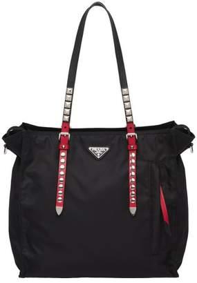 37608c8ae Prada Black Nylon Tote With Leather And Studs
