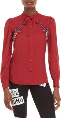 Love Moschino Red Embroidered Long Sleeve Shirt