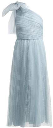 RED Valentino One Shoulder Tulle Midi Dress With Bow - Womens - Light Blue