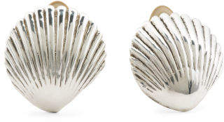 Made In Israel Sterling Silver Scallop Shell Earrings