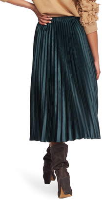 1 STATE 1.STATE Matte Satin Pleated Midi Skirt