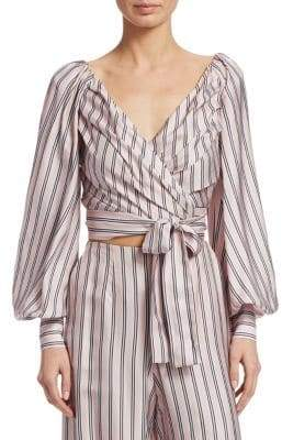Zimmermann Sunny Striped Wrap-Tie Blouse