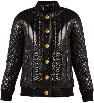 Balmain Quilted high-shine bomber jacket