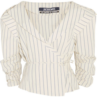 Jacquemus - Striped Cotton And Linen-blend Wrap Jacket - Ecru $460 thestylecure.com