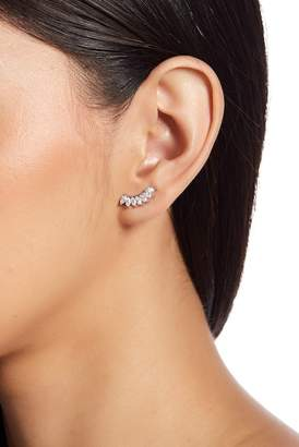 Shashi 18K White Gold Plated Sterling Silver Prong Set Marquise Cut Crystal Ear Climbers