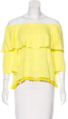 Alice + Olivia Off-The-Shoulder Ruffle Top