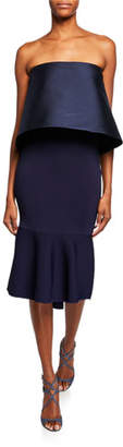 Sachin + Babi Brooke Strapless Knit Tulip Popover Dress