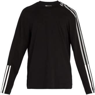 Y-3 Y 3 Striped Cotton Blend Long Sleeved T Shirt - Mens - Black