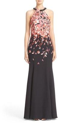 Women's St. John Collection Black Flamingo Degrade Print Gown $2,995 thestylecure.com
