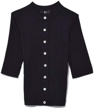 3x1 Ribbed Slim Cardigan in Black