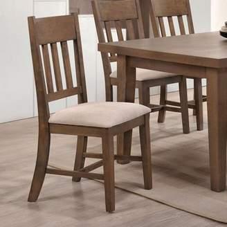 ACME Furniture ACME Ulysses Side Chair, Cream Fabric & Weathered Oak (Set of 2)
