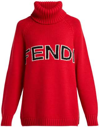 Fendi Logo-intarsia wool roll-neck sweater