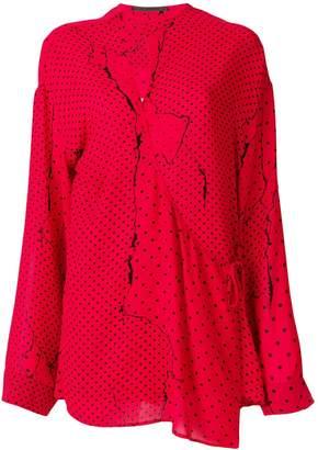 Haider Ackermann asymmetric dotted blouse
