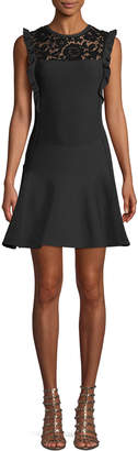 Valentino Sleeveless Fit-and-Flare Knit Dress w/ Lace Insert