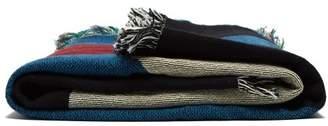 Viso Project - Tapestry Fringed Cotton Blanket - Black Blue