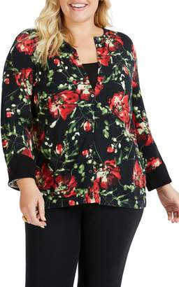 Foxcroft Gretchen Dreamy Floral Cotton Blend Cardigan