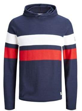 Jack and Jones Striped Cotton Hoodie