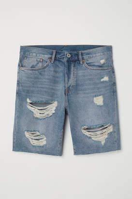 H&M Straight Fit Denim Shorts - Blue