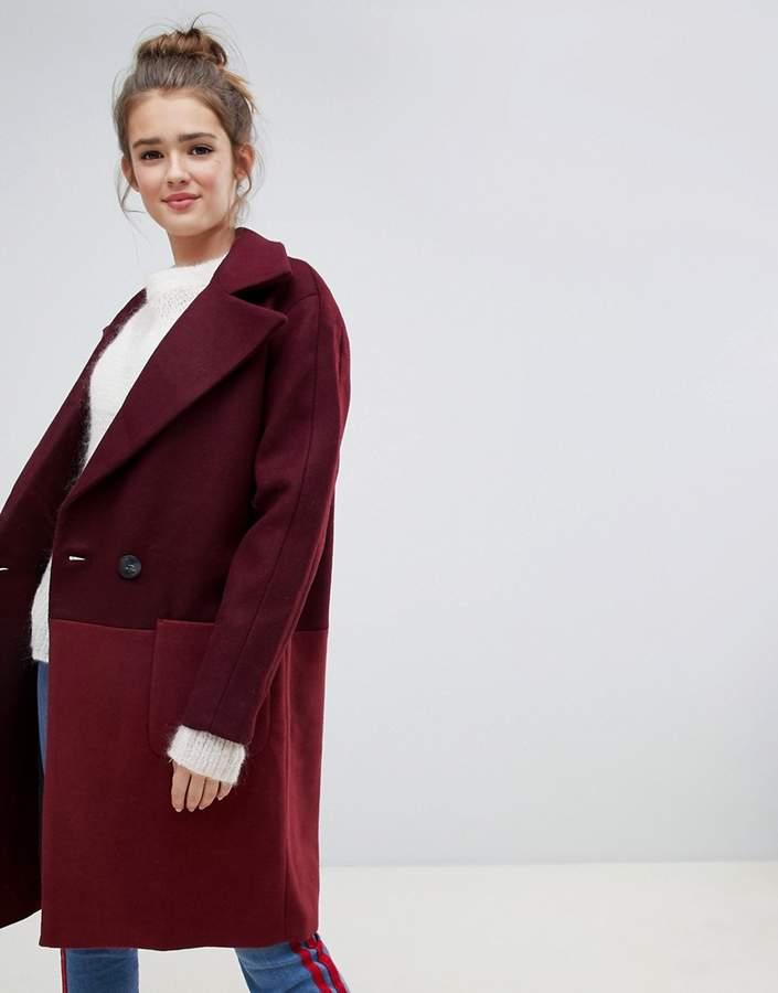 colour block oversized coat