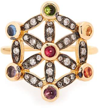 NOOR FARES Diamond, multi-stone & yellow-gold pinky ring