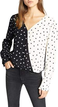 Sanctuary Reverse Dot Pattern Mix Top