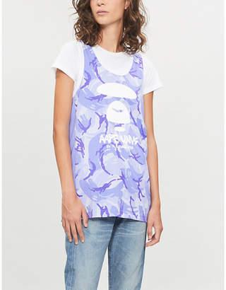 Aape Camo-pattern sleeveless cotton-jersey top