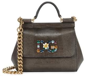 Dolce & Gabbana Miss Sicily Small Iguna-effect Leather Tote