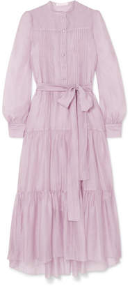 See by Chloe Belted Tiered Organza Midi Dress - Lilac