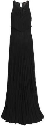 Macramé-Trimmed Pleated Pointelle-Knit Maxi Dress